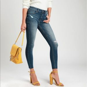 Clara Faded Medium Wash Distressed Skinny Jeans